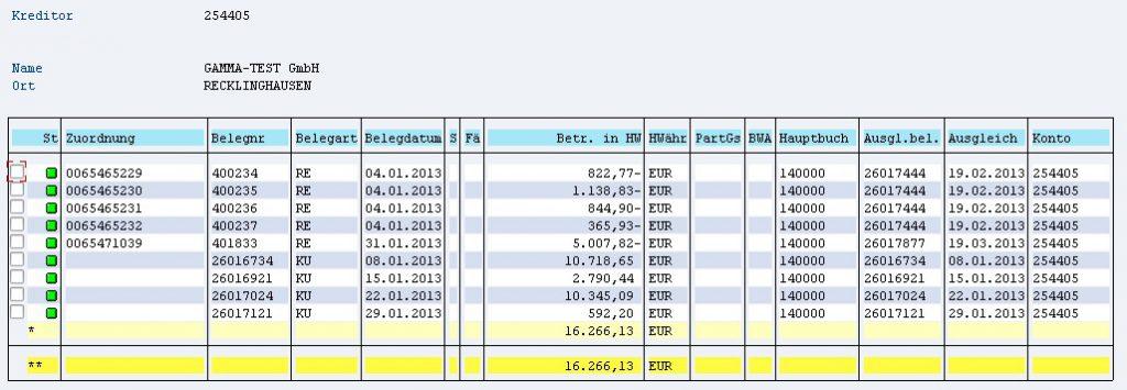 Beispiel Kreditorenbuchhaltung Ausgelagert Screenshot aus dem Buchungssystem in SAP